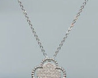 Pave Necklace, Silver Pave Necklace, Pave CZ,Sterling Silver Necklace, Quatrefoil Necklace, Top Selling Necklace, Perfect Gift,
