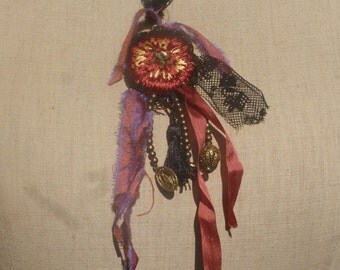 """Necklace """"punk girl"""" lace, bronze beads, cabochon, silk ribbons, embroidery, BoutonRose, medal, tassel, black"""