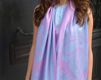 SALE! Pink and powder blue ottoman scarf