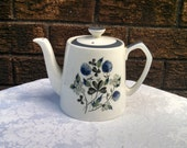 """Vintage Teapot, """"Blue Clover"""" by Alfred Meakin, Glo White Ironstone, English Teapot, Coffee Pot, Circa 1940s"""