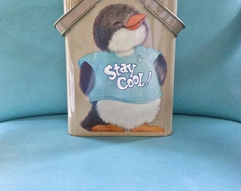 1980 Cheinco Hallmark Shirt Tales STAY COOL! Penguin Metal Tin with Handles Collectible