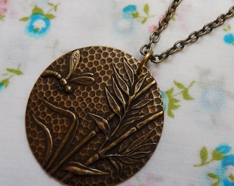 Dragonfly in the Reeds Round Pendant Necklace