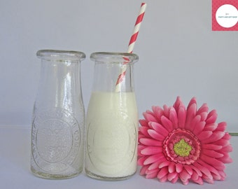 Glass Milk Bottles, Old-fashioned Style and Eco Friendly Milk Bottles, Set of 12.