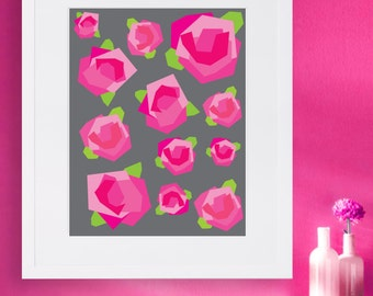 Rose Wall Art - Abstract Floral Print - Instant Download - Digital Print - Wall Art print - Designer printable download - Printable Poster