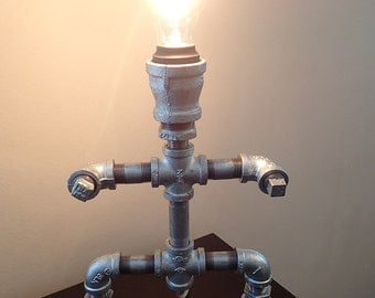 Industrial Pipe Robot Lamp with Edison Bulb
