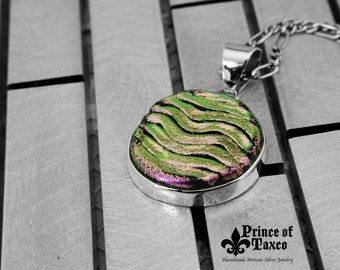"OMADI_024 Taxco .925 DICROIC glass and STERLING silver pendant ""Art Circle"". 100% handmade. Free shipping."