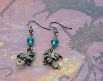Dragon Earrings, Crystal Earrings, Bronze Earrings, Dragon Jewelry, Fantasy Jewellery, Fantasy Earrings, Baby Dragon, Dragon Gift, Dragons