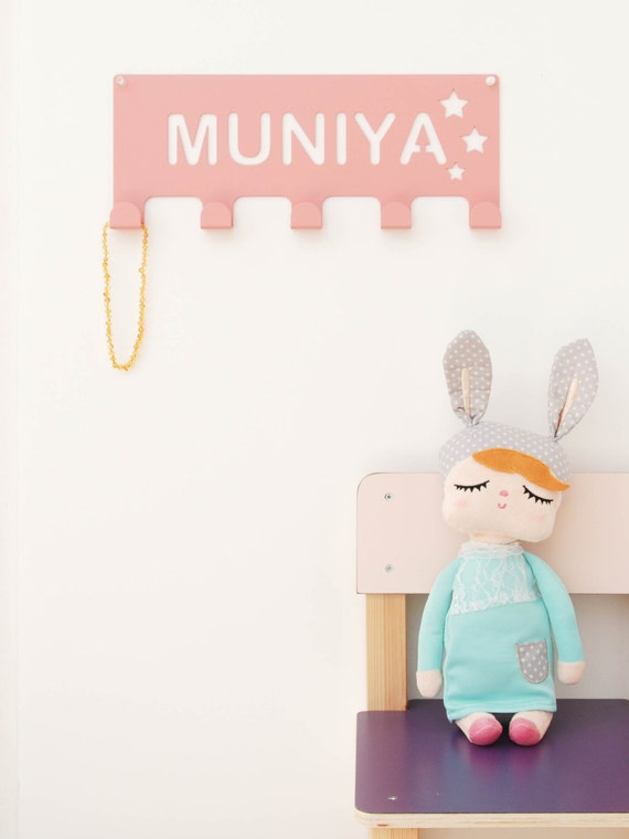 Kids room wall decor personalized coat rack nursery by for Kids room hooks