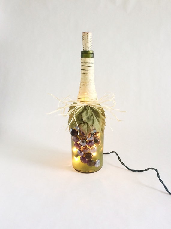 Grape String Party Lights : Wine bottle light with grape decoration Wine by GluGunsandRoses