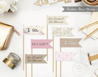 Cupcake Toppers Shabby Chic Vintage Wedding Dessert Flags Labels Bachelorette Bridal Shower Digital Printable