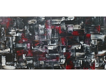 Large painting, Abstract art, black and white, canvas art, Home Decor, Modern wall art