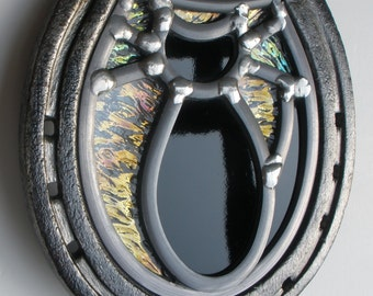 Made to order - Stained Glass Black Cat in a Horseshoe - Aluminium or Steel