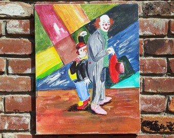 Vintage Abstract Original Oil Painting Modern Art Clowns