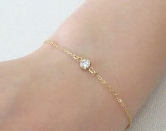 CZ bracelet, diamond CZ Bracelet, Delicate layering bracelet, bridesmaid gifts