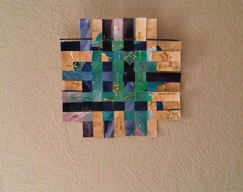 Fall to Winter - acrylic paint, mixed media, art home decor, weaved mixed media