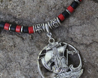 Pirate Ship Necklace, Renaissance, Tall Ship Medallion Necklace, Leather Cord Necklace