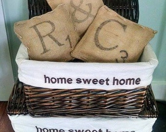 Burlap Pillows, Scrabble Letter Pillows, Custom Pillows, Mini Pillows