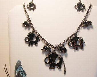 Rhinestone,  Silvertone,  and Black, Elephant Necklace and Earrings   (#312)