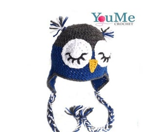 Sleeping owl hat with earflaps