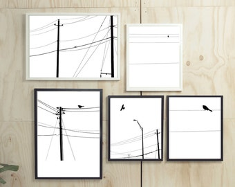 SAVE 40% On This Package ! Birds Power Lines Wall Art High Quality 8x10 inches Printable INSTANT DOWNLOAD