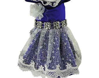 Purple & Silver Couture  Princess Dress for Dogs by Bella Poochy TM