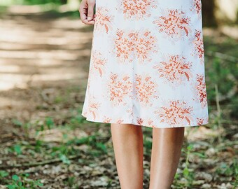French Vintage 60s skirt Vintage floral skirt 60s floral skirt Vintage skirt size xs Extra Small