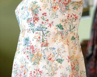vintage floral empire waist sundress size s/m
