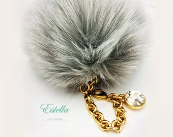 Fox Fur Ball Bag Charm Swarovski High-end