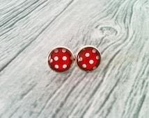 Polka dot earrings, rockabilly earrings, red and white, retro stud earrings, 50's jewelry, gift idea for her