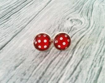 Polka dot earrings, rockabilly earrings, red and white, retro stud earrings, 50's jewelry, gift idea, gazoline jewelry, hypoallergenic