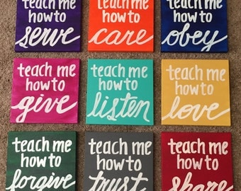 """Canvas Painting Quote - """"Teach Me How To..."""" Multicolored Handmade Inspirational Wall Art Dorm Room Decor Home Decor Art Hand Lettering"""