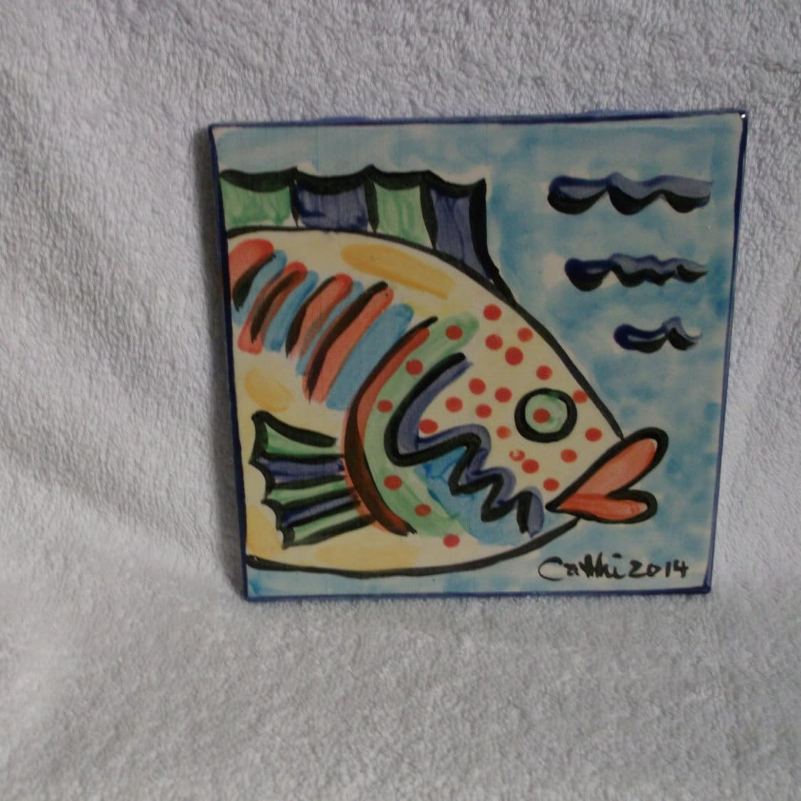 Hand painted ceramic fish tile bright colors 6 by 6 by - Hand painted ceramic tile ...