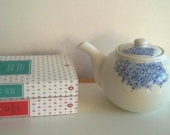 Custom teapot, porcelain, beautiful hand painted dots