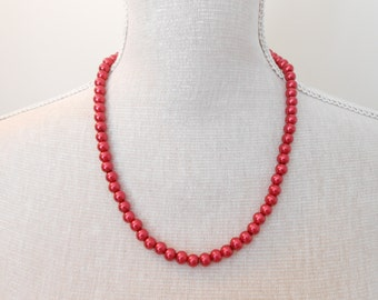 Red Pearl Necklace - Glass Pearl Jewelry - Red Necklace - Red Jewelry - Holiday Necklace - Christmas Jewelry - Red Wedding Jewelry