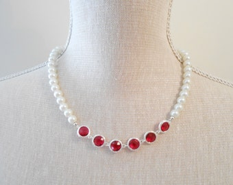 White and red pearl necklace, elegant jewelry unique for wedding, bridesmaid, bridal shower gifts, bridal, perfect for birthday, valentine