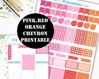 Pink Chevron Printable Planner Stickers // Erin Condren Printable / Plum Paper Planner / Red Chevron Printable Digital Download 00042