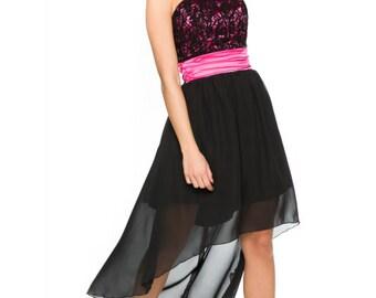 Chic Dress Assymetrical,Black pink Evening Dress Lace Top.