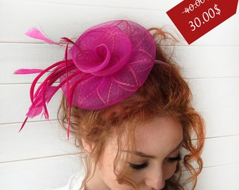 SALE25% Fuschia Fascinator - Pink Mini Fascinator Hat - Tea Party Hat - Wedding Fascinator - British Fascinator Hat - Fascinator Headband
