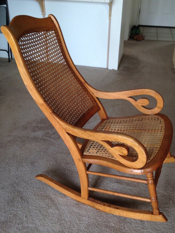 Antique Maple Lincoln Rocking Chair 1890 1910 Cane seat and