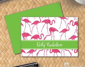 Watercolor Flamingos Folded Notecards - Preppy Custom Stationery - Personalized Beach Theme Foldover Note - Flamingo Stationary