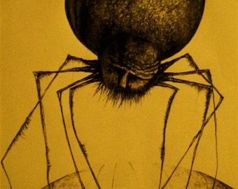 Outsider Art, Prints, Spider Art, Wall Art, Art Prints, Spider Drawing, Pen and Ink Drawing, Spider Prints, Goth Art, Dark Art, Monster Art