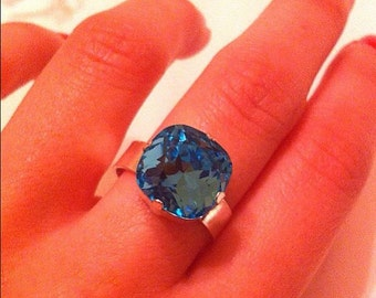 Sterling silver ring & Swarovski Element 12mm
