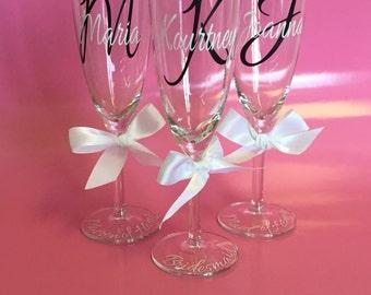 Personalized Champagne Glasses, Bridesmaid, Bride, Maid/Matron of Honor, SALE