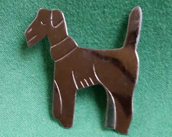 Vintage 60's Dog Pin Brooch Silver Tone MCM Doggone Cute!