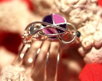 3farbiger Ring - violett & pink, silber