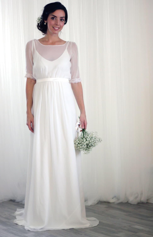 Silk Chiffon Vintage Inspired Wedding Dress