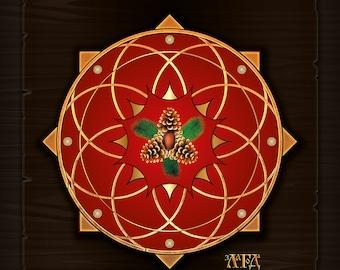 Shield Zlagoda (obereg, talisman, amulet), mystical decor, print on canvas