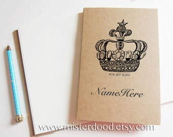 CUSTOM TEXT Notebook, Personalize Title Name, Art Kraft Vintage Diary, Royal Couple Pair, Elegant Journal, King Queen Crown, Couple Promo