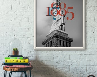 Statue of Liberty, NYC, Anniversary, Design Poster, Typography, Photo, Poster, Art Poster, Wall Art, Photography , Poster, Photo Print, 1885