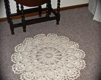 Crochet Wool Floor Rug, Lacy Pineapple Delight, Cream
